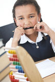 African American School Girl In Class with Abacus Royalty Free Stock Photos