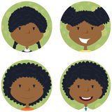African american school girls avatar collection Royalty Free Stock Photos