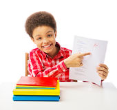 African American schoolboy with a grade Royalty Free Stock Photography