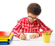 African American schoolboy taking test Royalty Free Stock Images
