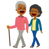 African American Senior Couple Walking Stock Photo
