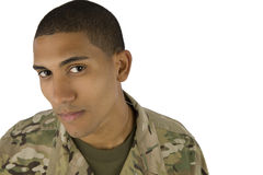 African American Serviceman. A African American soldier stares into the camera stock images