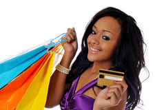 African american shopper. Young African American shopper isolated against a white background stock images