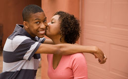 African-American single-parent family. Good-looking single-parent mom and son Stock Images