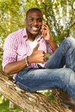 African american sitting on a tree Stock Photography