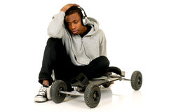 African American skateboarder Stock Photos
