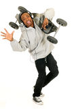 African American skateboarder stock photography