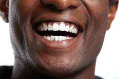 African American smile. African American young happy man smile healthy teeth Stock Photography