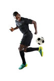 African American Soccer player Performing Back Kick Royalty Free Stock Photography