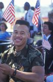 African-American Soldier in Wheelchair. With American Flags, Washington, D.C stock photos