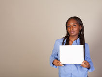 African American Spokeswoman with sign Royalty Free Stock Image
