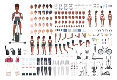 African American sportswoman or female athlete DIY or animation kit. Set of slim girl`s body parts, sports apparel, gym. Exercise machines isolated on white vector illustration