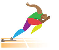 African American sprinter start at a distance of 100 meters. Young African American sprinter start at a distance of 100 meters Royalty Free Stock Image