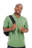African american student with bag and pencil Royalty Free Stock Images