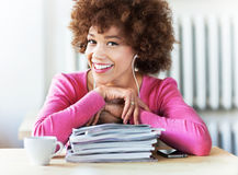 African American student at cafe Royalty Free Stock Images