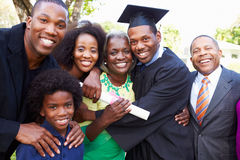 African American Student Celebrates Graduation. Looking At Camera Smiling royalty free stock photos