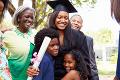 African American Student Celebrates Graduation. Outdoors Smiling royalty free stock photo