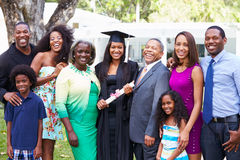 African American Student Celebrates Graduation. Smiling At Camera royalty free stock images