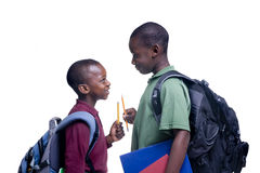 African American Students. Two african american brothers ready for school Royalty Free Stock Photos