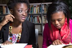 African American Students in a College Library Royalty Free Stock Image