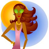 African American Sunglasses. A clip art illustration of an african american woman wearing sunglasses and jewelry against a background of a sky and bright sun stock illustration
