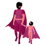 African American Super Hero Mom Illustration Stock Photo