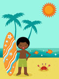 African American surfer Stock Image