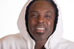 African American in sweat suit jacket with hood Stock Images