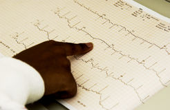 African American technician monitoring EKG machine Royalty Free Stock Photo