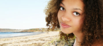 African American Teen at the Beach Royalty Free Stock Photos