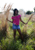 African American teen in nature Stock Images