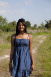 African American Teen On Country Road Royalty Free Stock Image