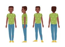 African american teenage boy or teenager wearing blue ragged jeans, green t-shirt and slip-ons. Flat cartoon character. Isolated on white background. Front Royalty Free Stock Images