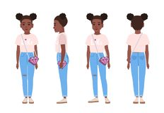 African American teenage girl or teenager wearing blue ragged jeans, pink t-shirt and sneakers. Flat cartoon character. Isolated on white background. Front royalty free illustration