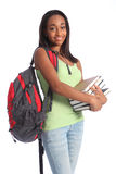 African American teenage student and school books Royalty Free Stock Images