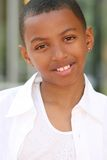 African American Teenager Boy Smiling stock photography