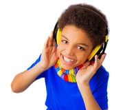 African American teenager with headset Royalty Free Stock Photo