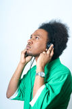 African American Teenager listen to music Royalty Free Stock Images