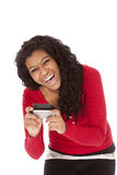 African American text very happy Stock Photo