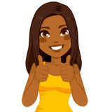African American Thumbs Up Woman. Beautiful African American woman happy smiling making thumbs up sign with both hands Stock Images