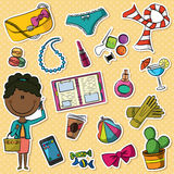 African-American trendy girl and female things Royalty Free Stock Image