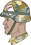 African American US Army Soldier Helmet Playing Card Drawng. Drawing sketch style illustration of an African American soldier wearing Us Army Kevlar combat vector illustration