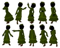 African American Victorian Girl Illustration Stock Images