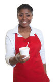 African american waitress serving coffee Royalty Free Stock Images