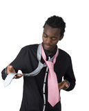 African American who hesitates between two tie Royalty Free Stock Images
