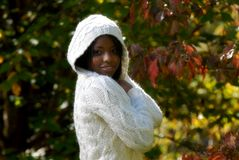 African-American woman. Feeling a cool fall day royalty free stock photos