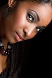 African American Woman. Beautiful smiling african american woman royalty free stock photography