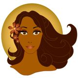 African American Woman 2. A clip art illustration of a beautiful african american woman with flowers in her hair stock illustration