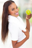 African american woman apple Royalty Free Stock Image