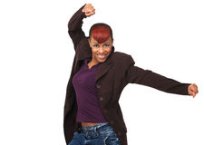 African American Woman Arms Up Stock Photography